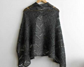 See trough knit shawl mohair and silk, knit openwork scarf, grey knitted stole, luxury gift for her, lightweight mohair shawl, lace scarf