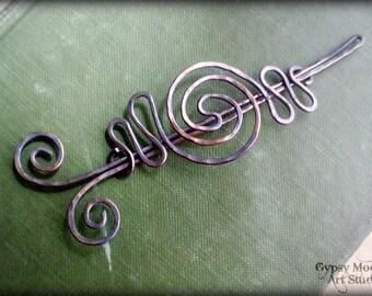 Celtic Copper Brooch.  Copper Hair Barrette or Shawl Pin Fall Fashion.