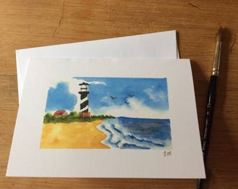 Lighthouse on beach Watercolor