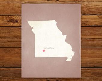 Customized Printable Missouri State Map Art - DIGITAL FILE - Aged-Look Canvas Wall Art Print