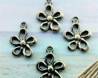 Whimsy Flower Charms -4 pieces-(Antique Pewter Silver Finish)--style 675--