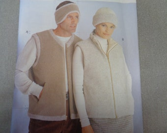 Vogue Sewing Pattern 9978 Unisex Vest Hat Band Men Women Loose Fitting Contrast Lined Front Exposed Zipper- Sizes XS-M
