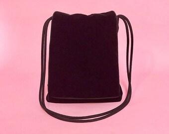 Velvet crossbody tote bag w/ satin piping