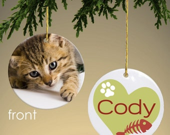 Personalized Cat Photo with Fishbone Ornament
