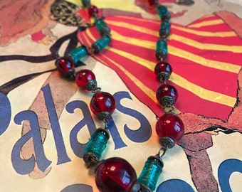 Art Deco 1920s Emerald and Ruby Czech Glass Bead Egyptian Revival Necklace