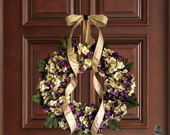 Purple Hand Blended Hydrangea Wreath | Spring Wreaths | Front Door Wreaths | Wreaths for Door | Summer Door Wreath | Easter Wreath