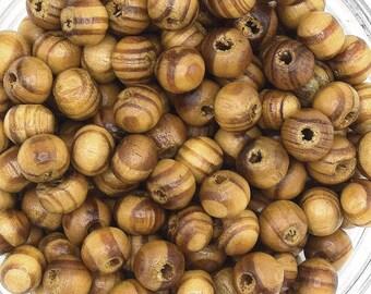 Yearly 50/100/150 beads 6 mm round Brown natural pine wood beads