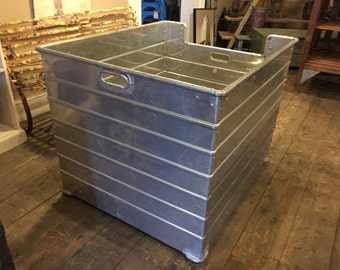 Large Vintage Industrial Aluminium Storage Crates Shop Display