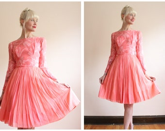 1950s Dress // Sweet Sugar Silk Chiffon Dress // vintage 50s dress