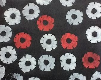 Lino Print - In Flanders Fields, the poppies blow