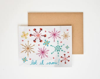 Holiday Card, Winter Onederland, Let it Snow, Christmas, Snowflakes, Gift for Wife, Holiday, Hannukah, Season's Greetings, Meera Lee Patel