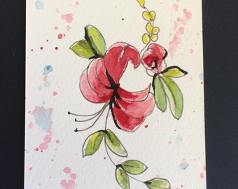 Flowers ORIGINAL Miniature Watercolour Summer Pink Blossom floral art ACEO Watercolor For him For her Home Decor Wall Art Gift Idea