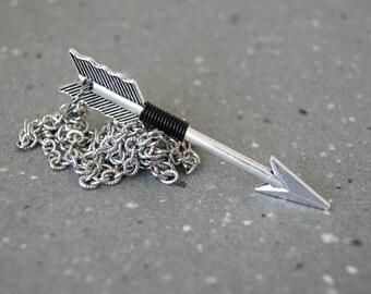 Collier de flèche pour hommes - noir fil enroulé pendentif argent flèche - Sagittaire