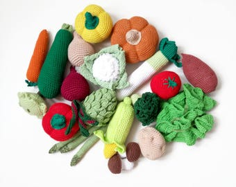 Crochet set (15 pcs) Stuffed Kitchen food Learning toy Play Kitchen Waldorf Pretend play Play Food Crochet Toy Crochet food Fake food