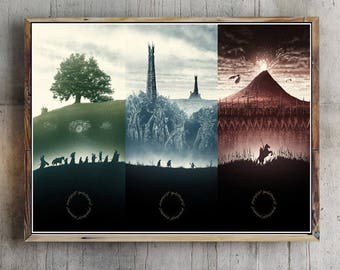 The Lord Of The Rings Trilogy Artwork Movie Poster The fellowship of the ring , The two towers , The return of the king picture