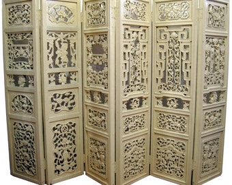 """Antique hand-carved floral 6-panel screen/ room divider - 53"""" tall"""