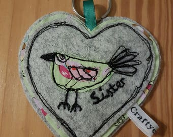 Sister keyring-Spring time birdy gift... Floral spring colours-tweed heart-Applique bird-textile art key charm-free motion embroidery
