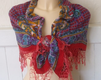 Large Dark Red, Purple and Blue Paisley & Check Soft Rayon Vintage Scarf / Shawl with Fringed Ends, Made in India