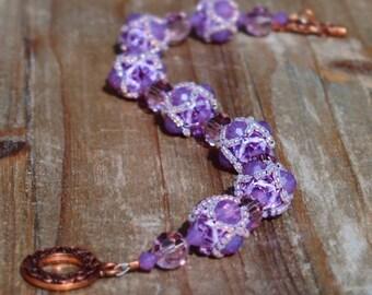 Lavender Swarovski Crystal Beaded Bracelet