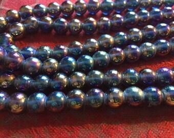 Vintage Glass Beads (16)  Handmade Japanese Vitrail High Gloss Glass Beads
