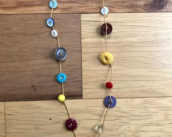 Multicolor Vintage Button Necklace
