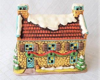1986 Lefton Colonial Village Hand Painted Christmas Holiday Cottage House Geo. Z. Lefton  Model #05818