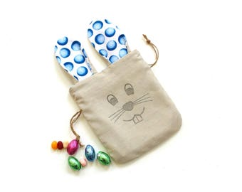 Easter bunny bag, candy treat bag, Easter gift for toddler, long ear bunny, linen drawstring pouch
