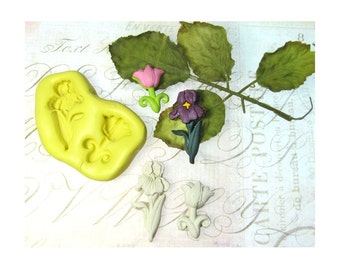 Tulip mold, Iris mold - flower mold -Silicone mold,push mold, food supplies mold, clay supplies molds, # 48 s