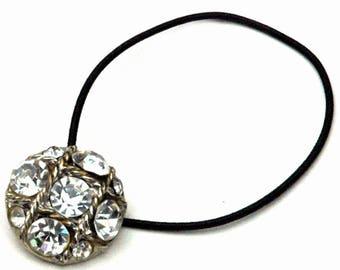 Rhinestone Ponytail Holder, Vintage Rhinestone Button, Golden Silver Metal, Har Accessories, Party Hair Accessory