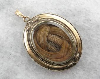 Gracious Sentiment: Antique Gold Victorian Hair Locket XPU9WW-D