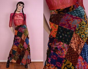 70s Velvet Patchwork High Waisted Maxi Skirt/ 26 Waist/ 1970s/ Vintage/ Floral