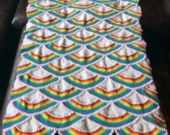"Crochet Rainbow and Cloud Afghan * Vintage Lap Blanket, Throw or Bedcover * Classic Roy G. Biv Color Pattern * 72"" x  50"""