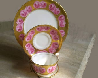 Espresso coffee 3 peace set class act  pink love vintage 1960s never used under glass