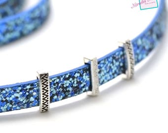 """10 pearls passing/slides for leather strap """"032 on a""""15 x 5 x 4 mm"""