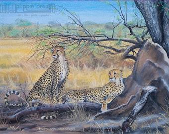A3 ARTWORK Cheetahs ART PRINT African Wildlife Conservation illustration desert ant hill  blue yellow green nature trees cats chalk pastel