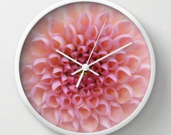Pink flower clock, Chrysanthemum photo wall accessory for feminine nursery decorating, subtle petal design