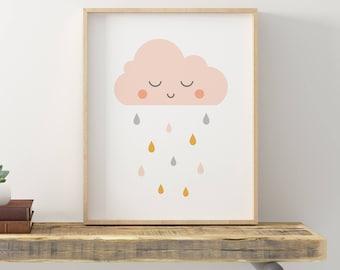 Rain Cloud Art, Rain Cloud Nursery, Cute Cloud Art, Cloud Print, Nursery Baby Art, Kids Room Art, Child Wall Art, Baby Printables