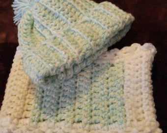 Baby hat and cowl scarf set