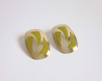 VINTAGE Earrings 1990s Chartreuse Enamel Metal Pierced
