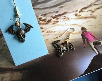 BAT SKULL EARRINGS w Fish Hook Wires for Bat Cave or Vampire Lovers   Even Boy Wonder or Girl Wonder, Cavers, Spelunking