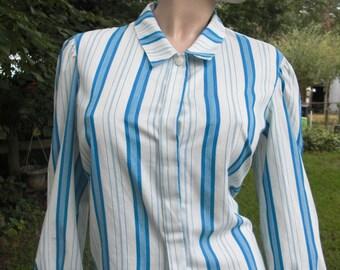 Womens Shirt, 80s Shirt, Vintage Shirt, 80s Costume, Striped Shirt, Shirt by Devon, Turquoise Shirt, White Shirt, Shirt Size 10