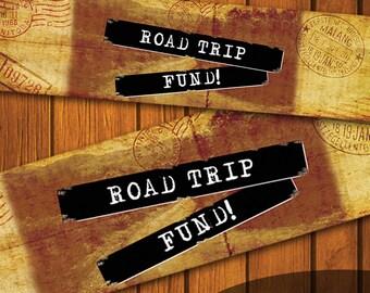Mason Jar Printable Label / Vintage Mason Jar Printable / Vintage / Road Trip / Mason Jar / Instant Download