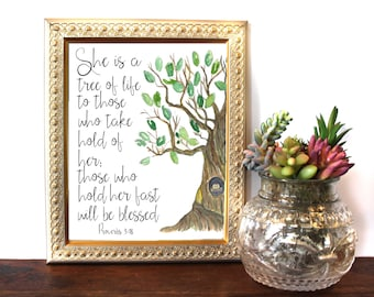 Bible Verse Wall Art,Proverbs 3:18, She is a tree of Life, Scripture Print Christian wall decor,instant download, Bible Quote,8x10