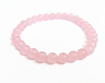 Rose Quartz Bracelet, chakra bracelet, metaphysical crystals and stones, 6mm rose quartz or 8mm rose quartz, pink stone bracelet, rose