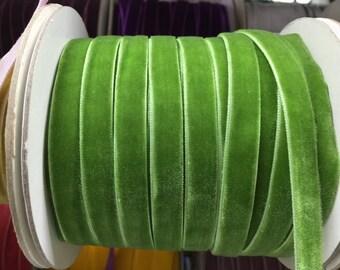 Velvet Ribbon - Fern Green Velvet Ribbon 10mm ( 3/8 inches )