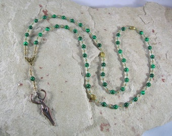 Nile Goddess Meditation Bead Necklace in Reconstituted Malachite