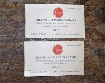 STUDEBAKER Sales and Service Business Card-Grand and Park Garage-Complete Auto Service-Lee E. Foley-Automobilia-Transportation-Sales-L11018C