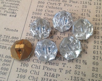 Vintage Clear Glass Foiled Buttons - Faceted, Reflected, Mirrored - Crystal, Sparkle - 10mm Octagons - Qty 6