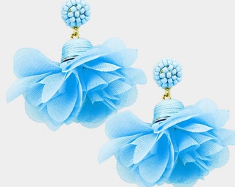 Beaded Dome Fabric Flower Dangle Earrings Blue