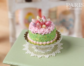 MTO-Easter Cake Decorated with Candy Eggs in Pink 'Nest' - Miniature Food in 12th Scale